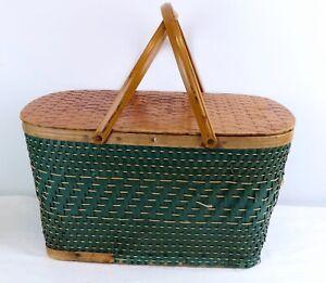 Vintage Hawkeye Burlington Green Picnic Woven Basket With Metal Handles