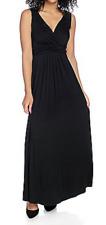 Kate & Mallory® Stretch Knit Slvless Surplice Maxi LONG Dress 1X BLACK open back