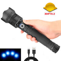 90000 Lumens XHP70.2 LED USB Rechargeable Flashlight Zoomable Torch Super Bright