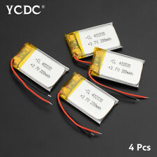 4Pcs 402030 3.7V 200mAh Lipo Battery Replacement For GPS Smart Watch MP3 MP4 60