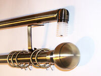 28mm Antique Brass Bay Window Curtain Pole System Ribbed Ball Finials 2.4m 240cm
