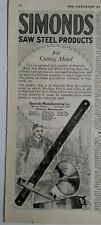 1919 Simonds saw Stihl products for cutting metal vintage tool original ad