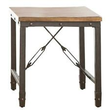 Ashford Brown Square Side End Table Wood Top Iron Frame Living Room Furniture