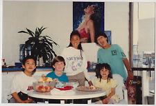 Vintage 80s PHOTO Girls & Boys Eating At Table Poster Of Bikini Girl On Wall