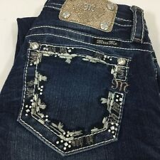 Miss Me Jeans Boot Cut Sz 25 x 30 Embellished Studs Pocket Buckle Signature