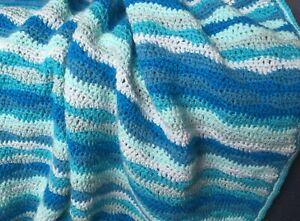 Handmade Crochet Blue Wave Striped Lap Blanket Throw Coastal Beach