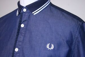 Fred Perry Twin Tipped Flat Knit Collar Chambray Shirt - L - Indigo Blue -  Top
