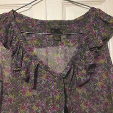 Fei Anthropologie Silk Blouse Size 8  Floral Tied Sheer