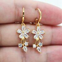 Fashion Women Crystal Rhinestone Flower Ear Hoop Drop Dangle Earrings Jewelry