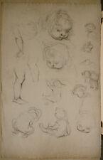 Dessin Original Fusain  LUC LAFNET (1899-1939) Etude Enfants Anne-Marie  LL20