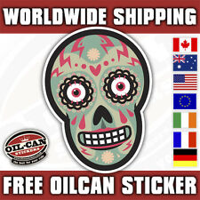 Sugar Candy skull sticker/ hotrod kustom decal 85mm high