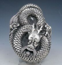 Tibetan Silver Crafted Large Heavy Ink Slab w/ Cover *Curly Dragon* Overlay