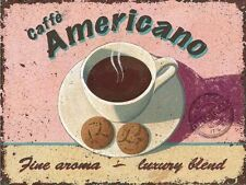 Americano Cafe Coffee Drink Retro Kitchen Bar Shabby Chic, Small Metal Tin Sign