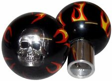 Black Flamed Skull Custom Tractor Trailer Air Brake Dash Knobs Peterbilt