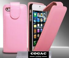 FUNDA PROTECTOR PIEL PARA IPHONE 5 ROSA CLARA CARCASA CUERO LEATHER