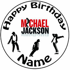 """Personalised Michael Jackson Icing Cake Topper Round Easy Pre-cut 8"""" (20cm)"""