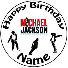 """Personnalisé michael jackson icing cake topper rond facile pre-cut 8"""" (20cm)"""