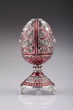 Red Faberge Egg Trinket Box & Clock Handmade by Keren Kopal Austrian  Crystals