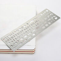 EG_ Stainless Alphabet Graphic Template Ruler DIY Drawing Planner Stencil Showy
