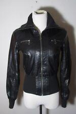 Women's NEW LOOK Black Faux Leather Full Zip Jacket Size S