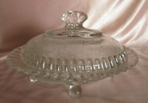 Antique Butter Dish Glass Transparent Moulded On Feet