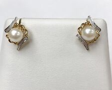 14K MULTITONE GOLD PEARL EARRINGS  VERY PRETTY!