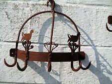 antique French Wall Hanging Butcher Rack Cast Wrought Iron 5 Hooks Ducks Rustic