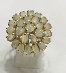 14k Solid Yellow Gold Ring Natural Oval & Round Opal 4.80GM