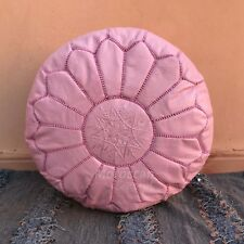 Free Express Shipping! Moroccan Leather Pouf pink