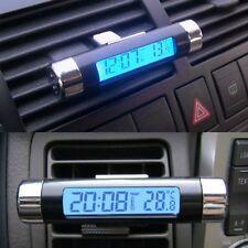 Car Van Auto Digital Clock Temperature Meter Thermometer LCD Blue Display Black