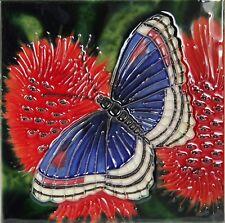 Red Poppy Ceramic Wall Art 15x15cm Plaque Tile Picture Decorative YH Arts Flower