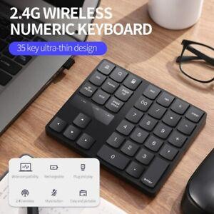 NEW Wireless Numeric Keyboard Portable Keypad 35 Keys PC Rechargeable YI