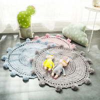 Baby Play Gym Mats Hand knit Wool Rugs Round Kids Floor Carpet Crawling Blanket