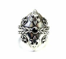 Men's Custom Black Diamond Silver Fleur De Li Ring With Angels Wings