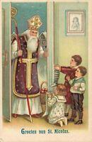Saint Nicholas Santa Claus Postcard Germany Embossed With Kids 05.41