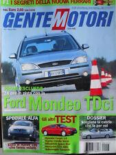 GENTE MOTORI n°3 2002 Ford Mondeo TDci - Segreti della nuova FERRARI [P43]