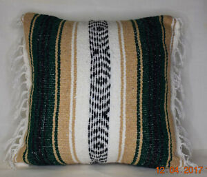 Mexican serape decorative throw pillow green beige white for sofa or bed