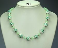 Green white porcelain 12mm bead necklace, mint crystals, silver balls, chain