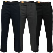 Wool Patternless Flat Front Trousers for Men