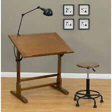 Vintage Drafting Table Architect Space Wood Drawing Desk Adjustable Rustic Oak