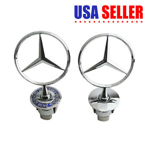 Luckily 3-piece Mercedes Benz Logo Metal Flat Vehicle Hood Star Emblem Badge Black Steering Wheel Decal Sticker+Multimedia Control Decal Sticker for Mercedes Benz Class Decoration