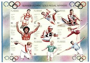 St. Vincent 1996 SC# 2319 Olympic Gold Medal Winners - Sheet of 9 Stamps - MNH
