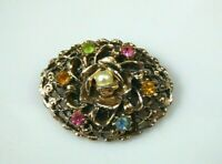 Vintage Flower Rhinestone Brooch Pin Rose Gold Tone Faux Pearl Swirl Layered