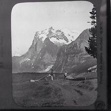Magic Lantern Slide Alpine Horn Instrument Switzerland Swiss Alps Mountains