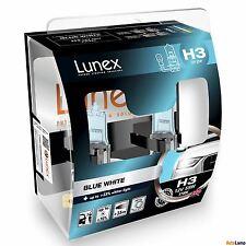 Lunex H3 Blue White 12V Car Halogen Headlight Bulbs PK22s 3700K HardCase Set