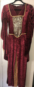 Renaissance Gown Burgundy & Gold Velveteen Ladies Shakespearean Dress Small M