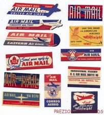 12 Different 1940s-1950s AIRLINE STICKERS Labels NICE!