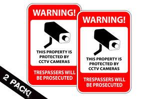 Home Security Camera Burglar Defense CCTV Warning Decal Window Sticker 2 PACK
