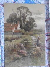 Landschaft Frau Dorf Gemälde Kunstwerk Postkarte Ansichtskarte 3037