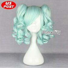 Light Green 35CM Short Hair Lolita Party Women Cosplay Wig + 2 Curly Ponytails